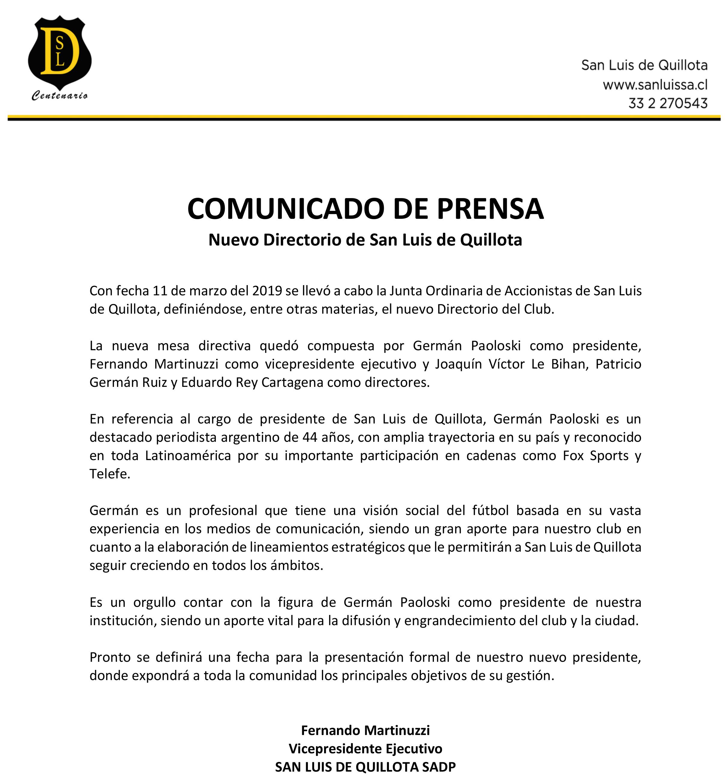 COMUNICADO DE PRENSA DIRECTORIO DE SAN LUIS DE QUILLOTA